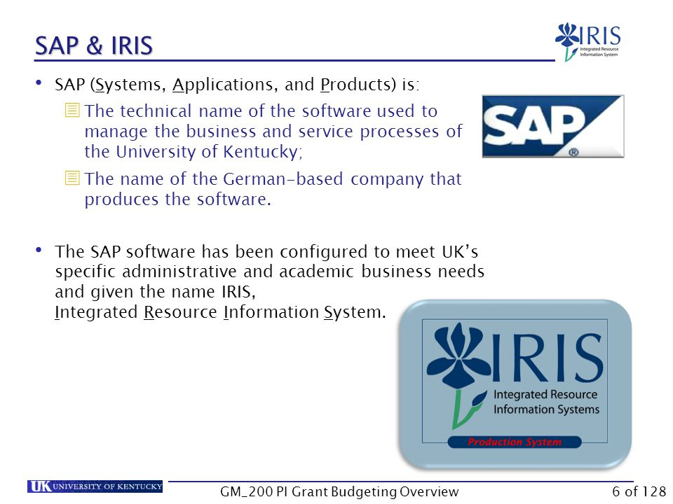 Unit 1 – IRIS/SAP Overview What is SAP R/3.