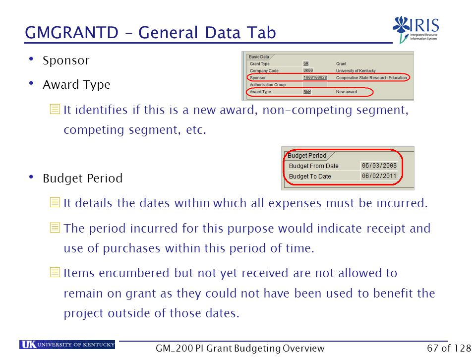 GMGRANTD – General Data Tab Grant Type  It describes the award instrument or some identifying element of the grant.