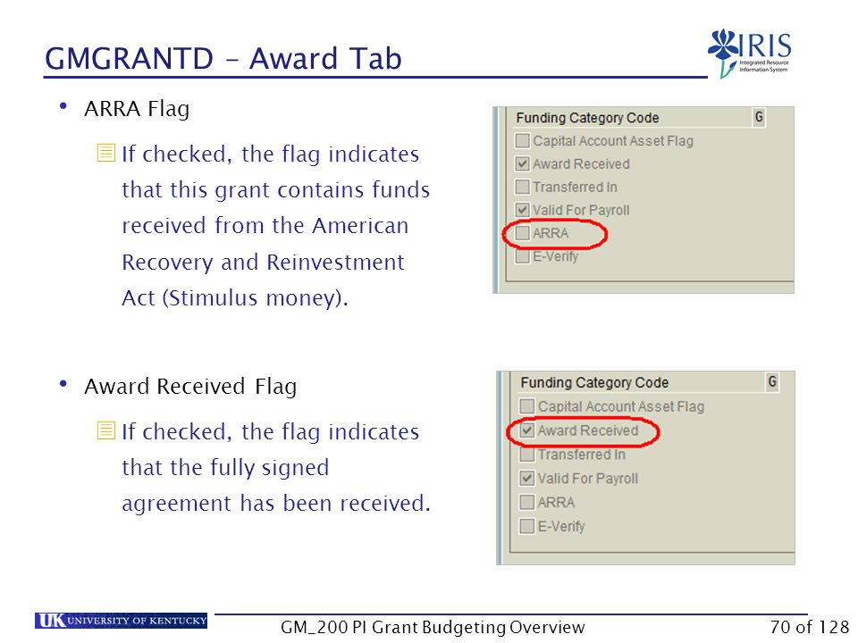 GMGRANTD – Award Tab Budget Rule  The rule determines how the budget is controlled in the system.