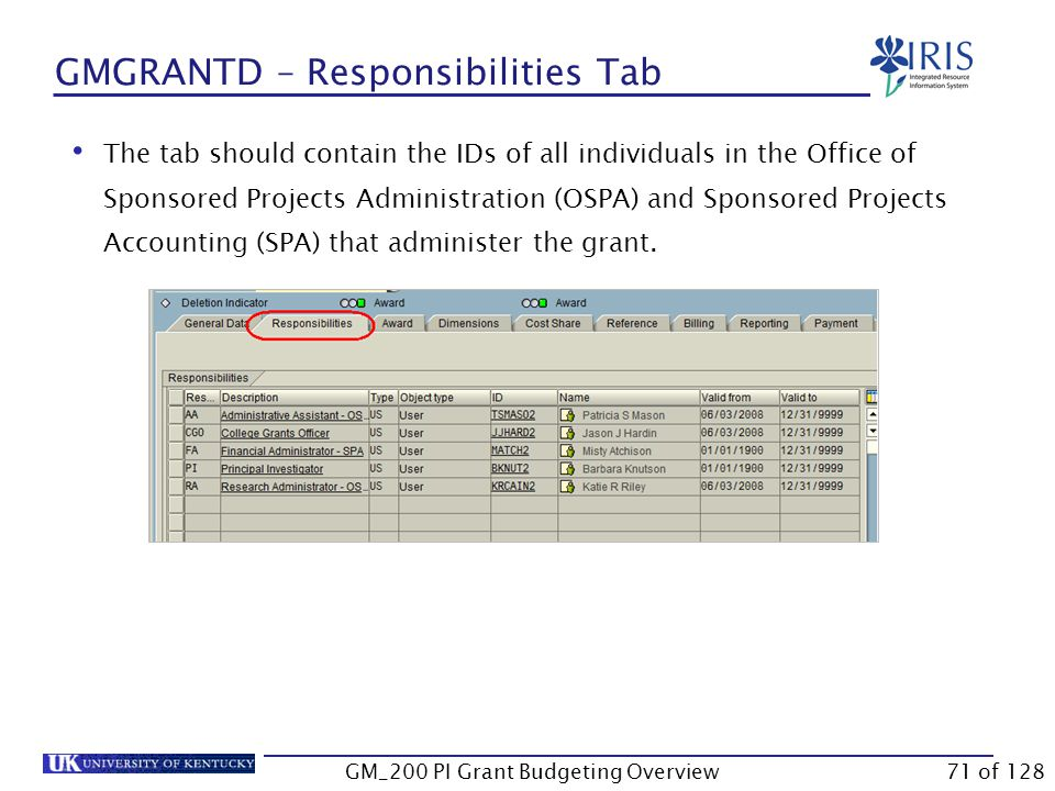 GMGRANTD – Award Tab ARRA Flag  If checked, the flag indicates that this grant contains funds received from the American Recovery and Reinvestment Act (Stimulus money).