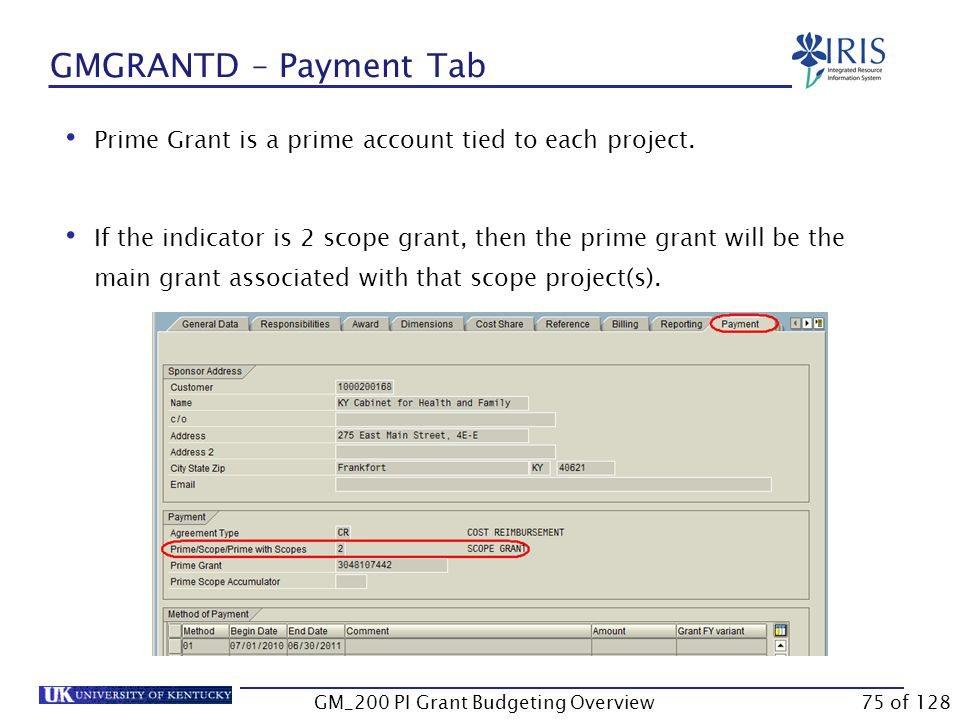 GMGRANTD – Payment Tab This tab provides the detail of the account if it is a prime grant, a scope grant, or a prime with scopes grant.