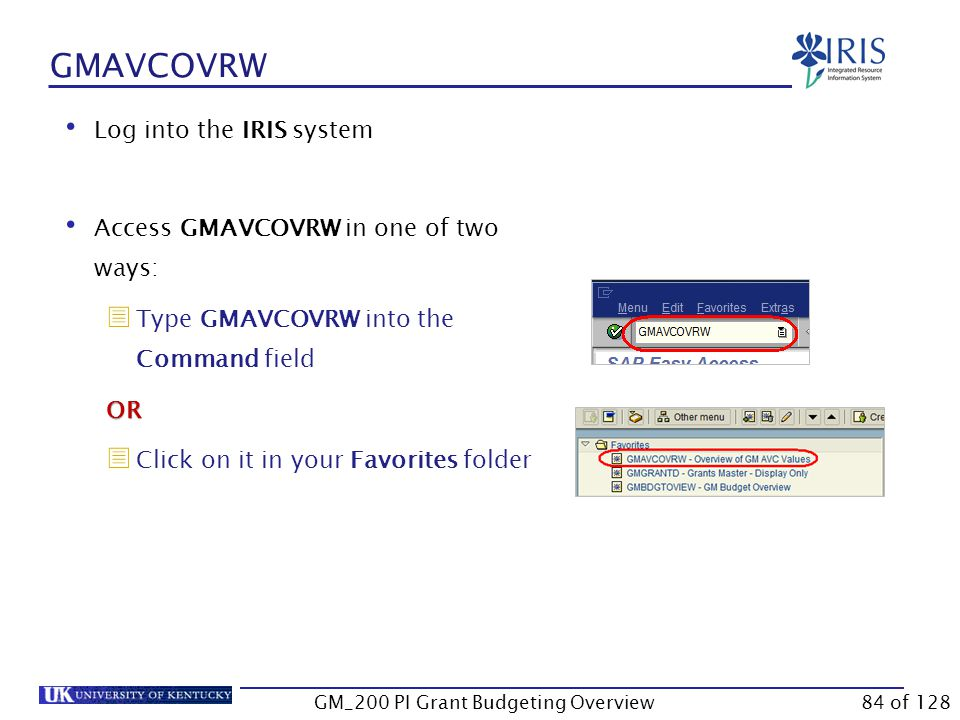 GMAVCOVRW Use GMAVCOVRW to check your account's overall real-time balance and the balance in each budgeted sponsored class.