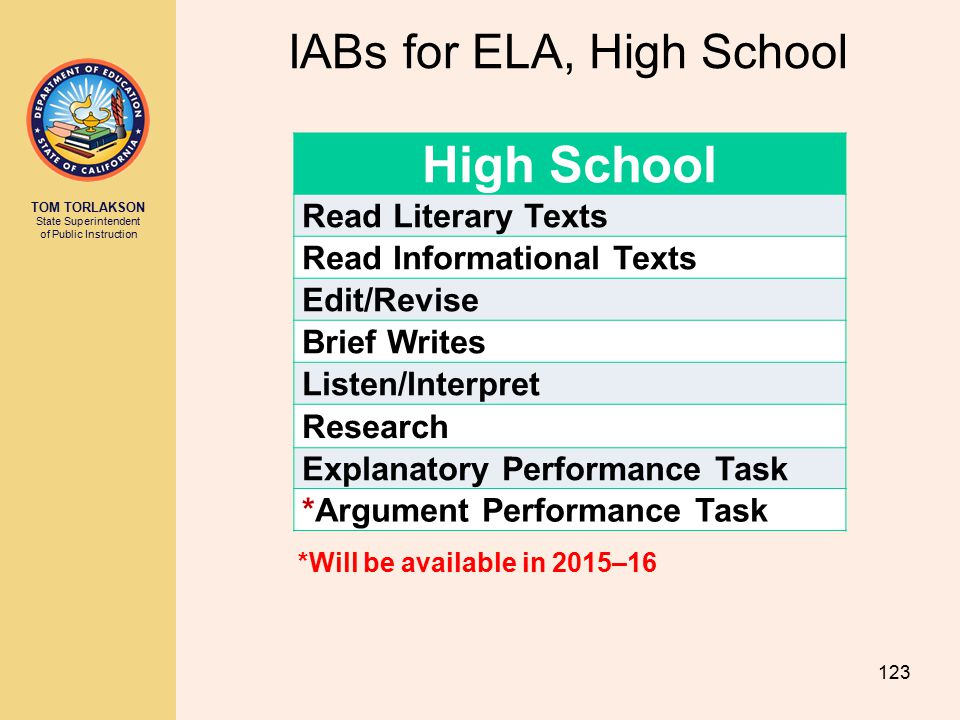 TOM TORLAKSON State Superintendent of Public Instruction IABs for ELA, High School 123 *Will be available in 2015–16 High School Read Literary Texts R