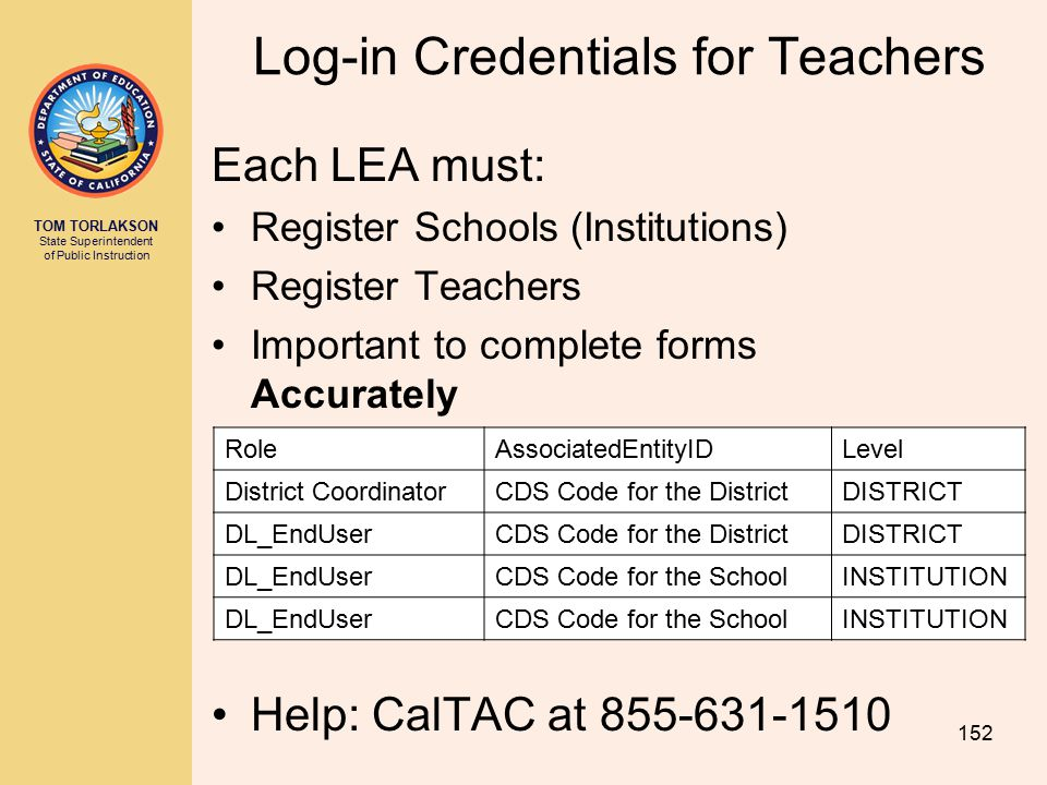 TOM TORLAKSON State Superintendent of Public Instruction Each LEA must: Register Schools (Institutions) Register Teachers Important to complete forms