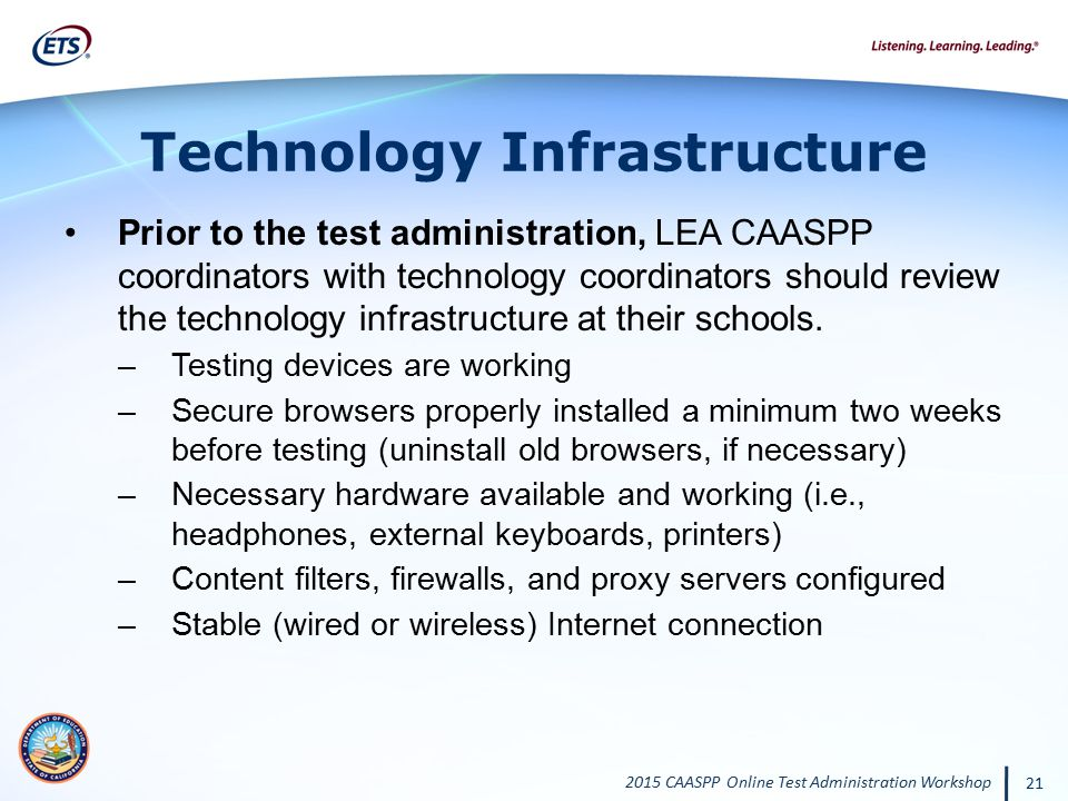 2015 CAASPP Online Test Administration Workshop 21 Technology Infrastructure Prior to the test administration, LEA CAASPP coordinators with technology