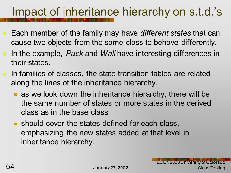 January 27, 2002 ECEN5033 University of Colorado -- Class Testing 54 Impact of inheritance hierarchy on s.t.d.'s Each member of the family may have different states that can cause two objects from the same class to behave differently.