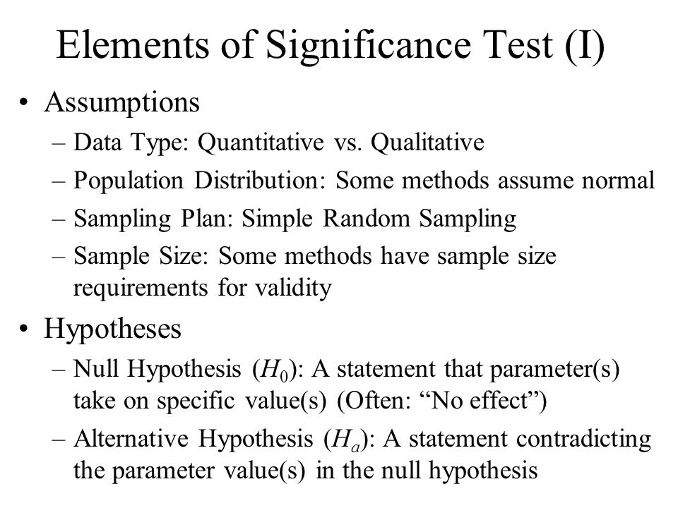 Elements of Significance Test (I) Assumptions –Data Type: Quantitative vs.