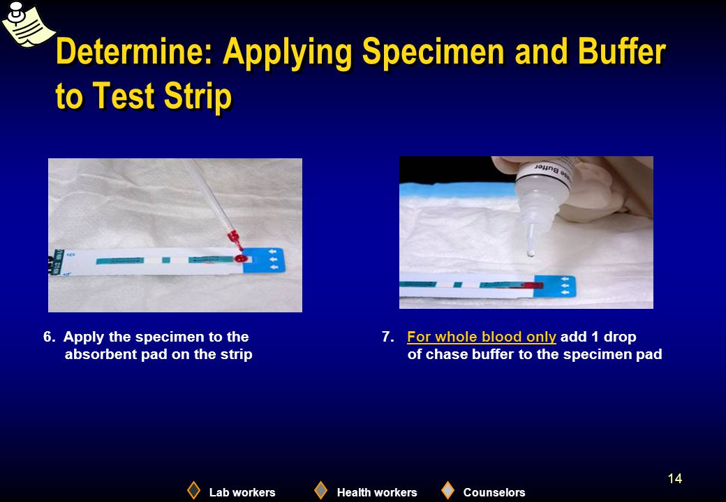 Lab workersHealth workersCounselors 14 Determine: Applying Specimen and Buffer to Test Strip 7.