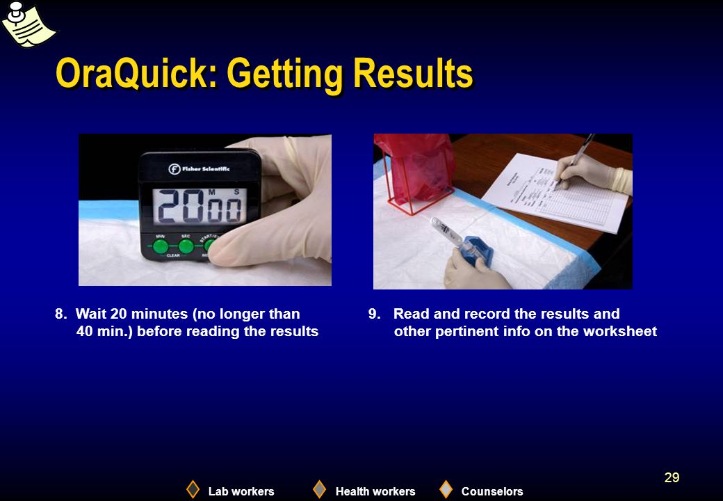 Lab workersHealth workersCounselors 29 OraQuick: Getting Results 8.