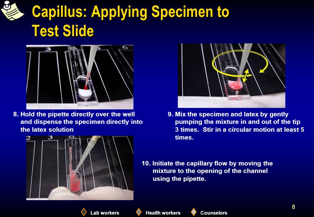 Lab workersHealth workersCounselors 8 Capillus: Applying Specimen to Test Slide 9.