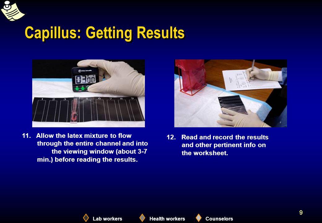 Lab workersHealth workersCounselors 10 Capillus – Test Interpretation Reactive Non- reactive