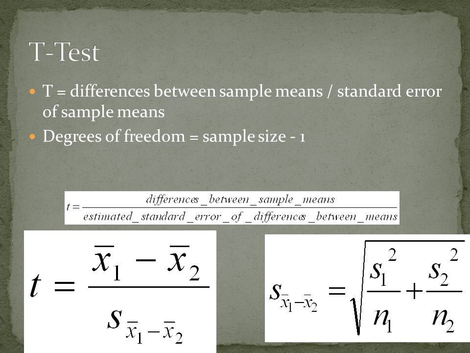 T = differences between sample means / standard error of sample means Degrees of freedom = sample size - 1