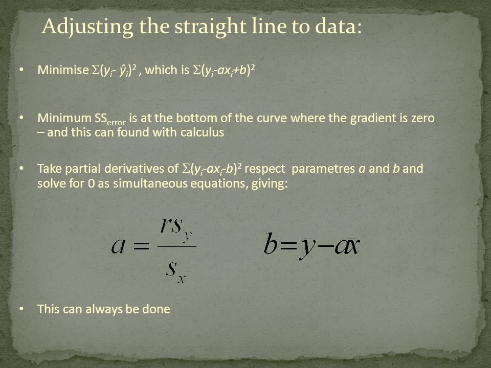 Adjusting the straight line to data: Minimise  (y i - ŷ i ) 2, which is  (y i -ax i +b) 2 Minimum SS error is at the bottom of the curve where the g