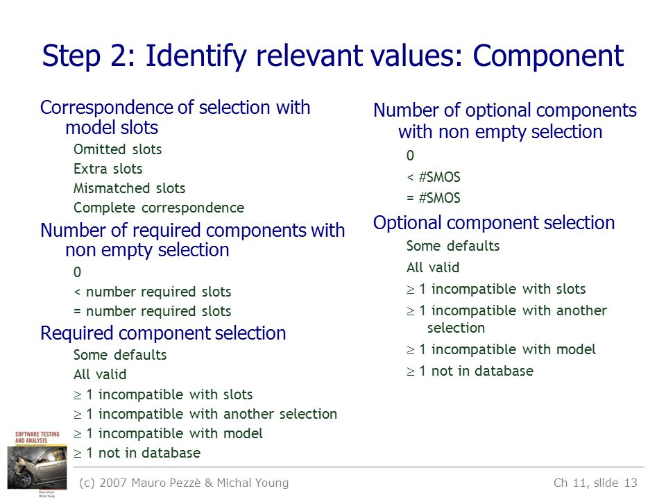 (c) 2007 Mauro Pezzè & Michal Young Ch 11, slide 13 Step 2: Identify relevant values: Component Correspondence of selection with model slots Omitted s