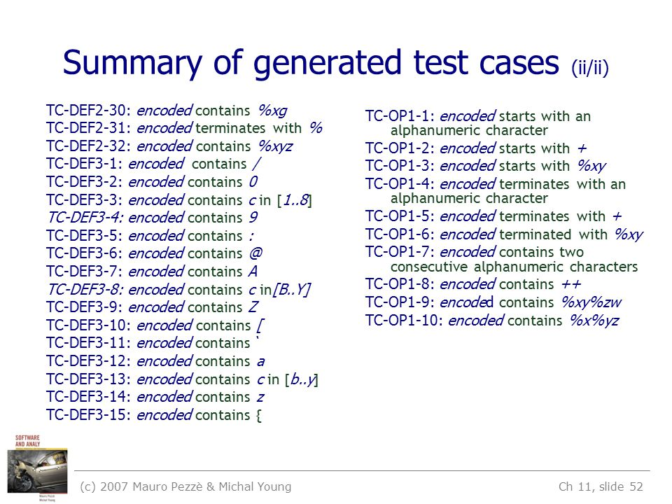 (c) 2007 Mauro Pezzè & Michal Young Ch 11, slide 52 Summary of generated test cases (ii/ii) TC-DEF2-30: encoded contains %xg TC-DEF2-31: encoded terminates with % TC-DEF2-32: encoded contains %xyz TC-DEF3-1: encoded contains / TC-DEF3-2: encoded contains 0 TC-DEF3-3: encoded contains c in [ 1..8 ] TC-DEF3-4: encoded contains 9 TC-DEF3-5: encoded contains : TC-DEF3-6: encoded contains @ TC-DEF3-7: encoded contains A TC-DEF3-8: encoded contains c in [B..Y] TC-DEF3-9: encoded contains Z TC-DEF3-10: encoded contains [ TC-DEF3-11: encoded contains ` TC-DEF3-12: encoded contains a TC-DEF3-13: encoded contains c in [ b..y ] TC-DEF3-14: encoded contains z TC-DEF3-15: encoded contains { TC-OP1-1: encoded starts with an alphanumeric character TC-OP1-2: encoded starts with + TC-OP1-3: encoded starts with %xy TC-OP1-4: encoded terminates with an alphanumeric character TC-OP1-5: encoded terminates with + TC-OP1-6: encoded terminated with %xy TC-OP1-7: encoded contains two consecutive alphanumeric characters TC-OP1-8: encoded contains ++ TC-OP1-9: encoded contains %xy%zw TC-OP1-10: encoded contains %x%yz