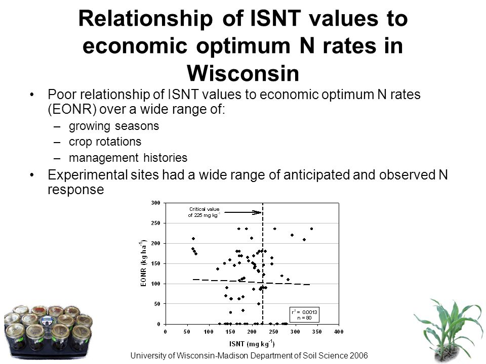 University of Wisconsin-Madison Department of Soil Science 2006 Relationship of ISNT values to economic optimum N rates in Wisconsin Poor relationship