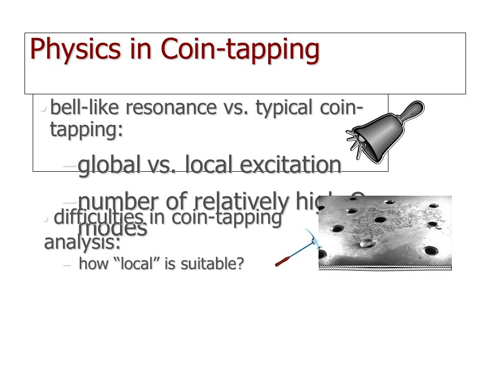 Physics in Coin-tapping bell-like resonance vs. typical coin- tapping:bell-like resonance vs. typical coin- tapping: –global vs. local excitation –num