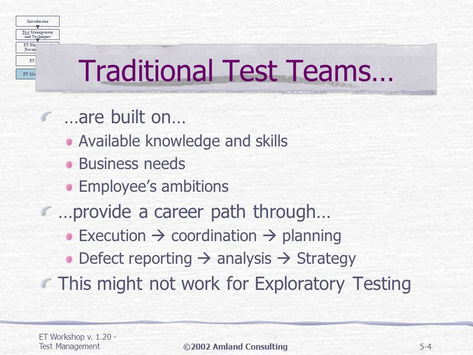 ET Workshop v.1.20 - Test Management©2002 Amland Consulting5-34 1.