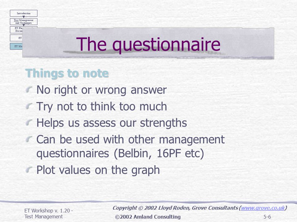 ET Workshop v. 1.20 - Test Management©2002 Amland Consulting5-5 How to build and lead an effective test team Slides and Questionnaire from Lloyd Roden