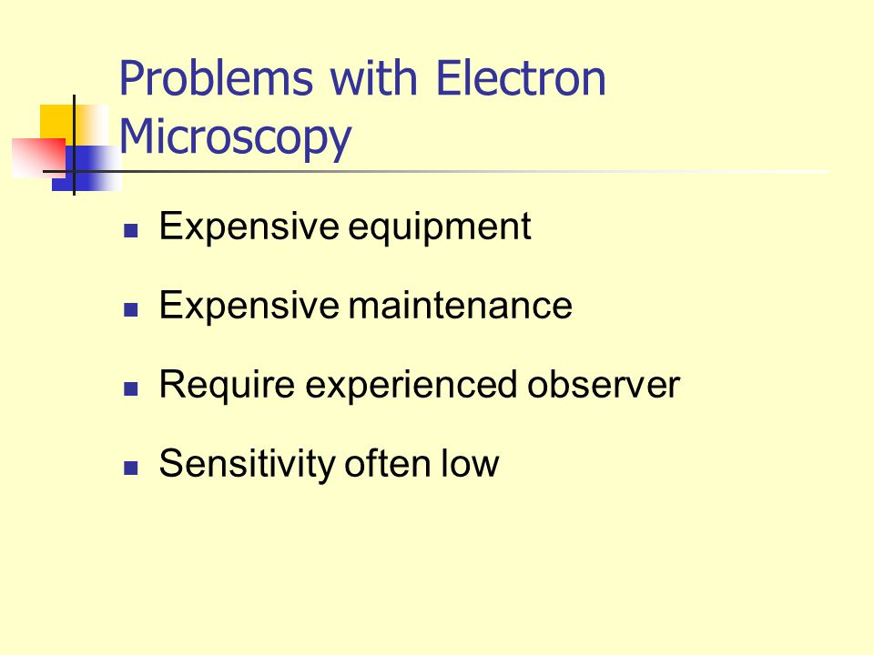 Problems with Electron Microscopy Expensive equipment Expensive maintenance Require experienced observer Sensitivity often low