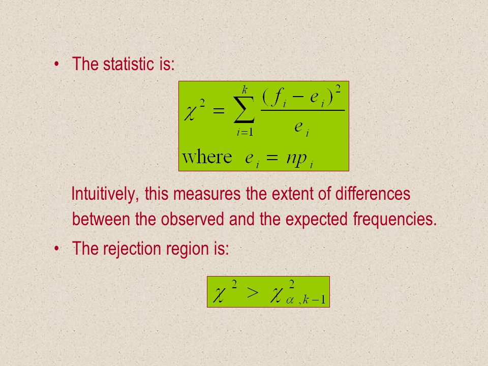 The statistic is: Intuitively, this measures the extent of differences between the observed and the expected frequencies.