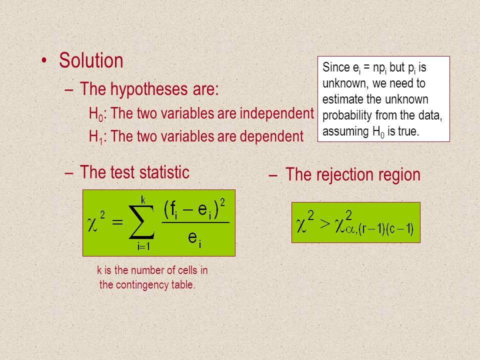 Solution –The hypotheses are: H 0 : The two variables are independent H 1 : The two variables are dependent k is the number of cells in the contingency table.