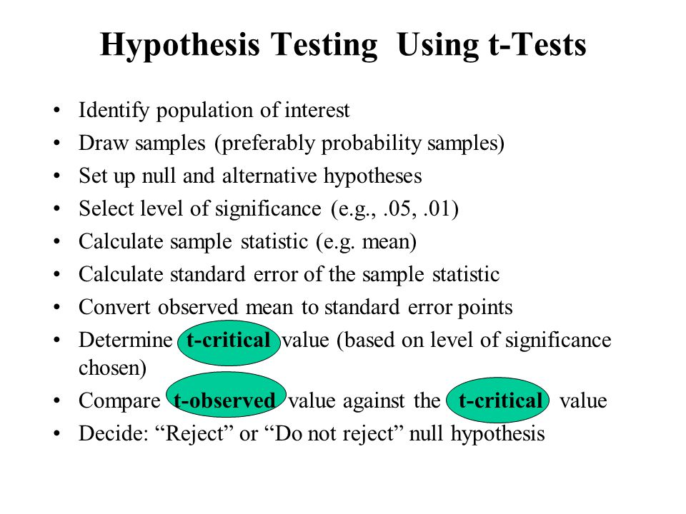 Identify population of interest Draw samples (preferably probability samples) Set up null and alternative hypotheses Select level of significance (e.g