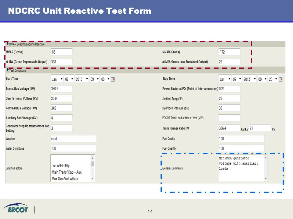 14 NDCRC Unit Reactive Test Form
