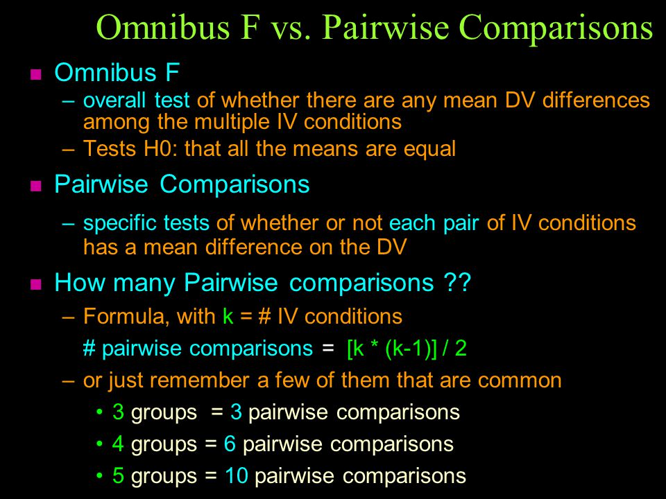Omnibus F vs. Pairwise Comparisons n Omnibus F –overall test of whether there are any mean DV differences among the multiple IV conditions –Tests H0: