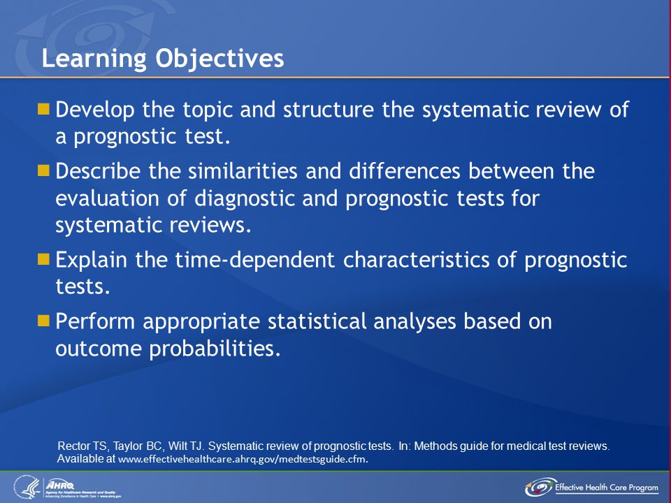  Develop the topic and structure the systematic review of a prognostic test.