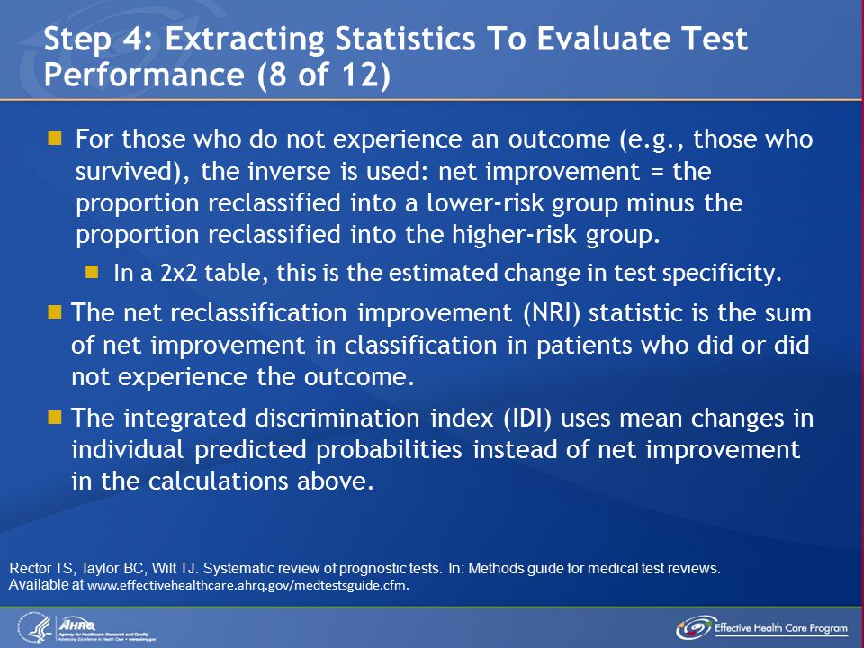  For those who do not experience an outcome (e.g., those who survived), the inverse is used: net improvement = the proportion reclassified into a lower-risk group minus the proportion reclassified into the higher-risk group.