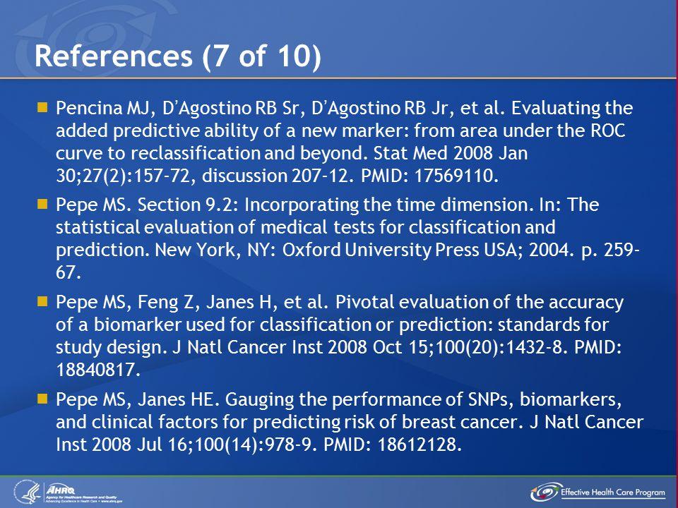  Pencina MJ, D'Agostino RB Sr, D'Agostino RB Jr, et al.