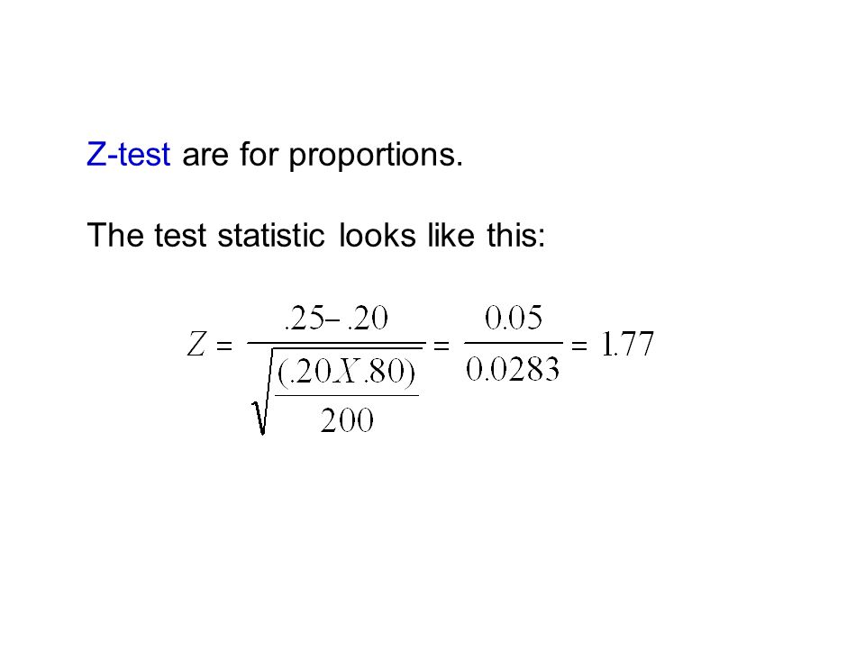 Z-test are for proportions. The test statistic looks like this: