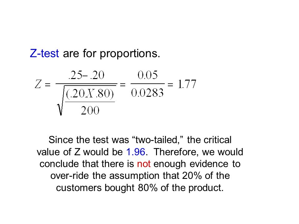 Z-test are for proportions.Since the test was two-tailed, the critical value of Z would be 1.96.