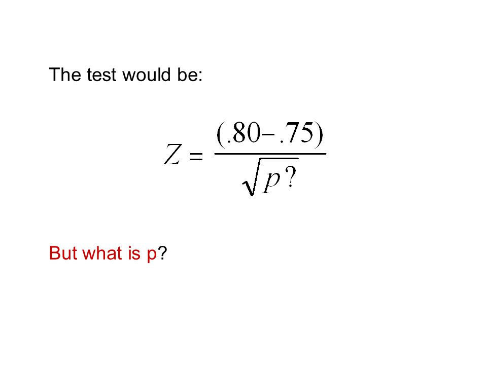 The test would be: But what is p?