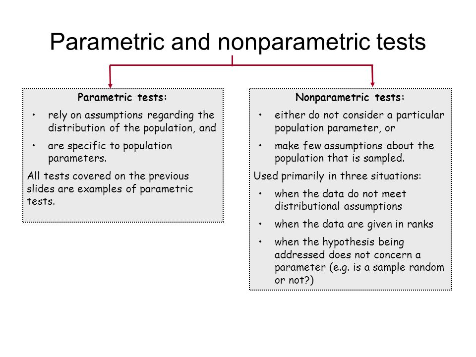 Parametric tests: rely on assumptions regarding the distribution of the population, and are specific to population parameters. All tests covered on th