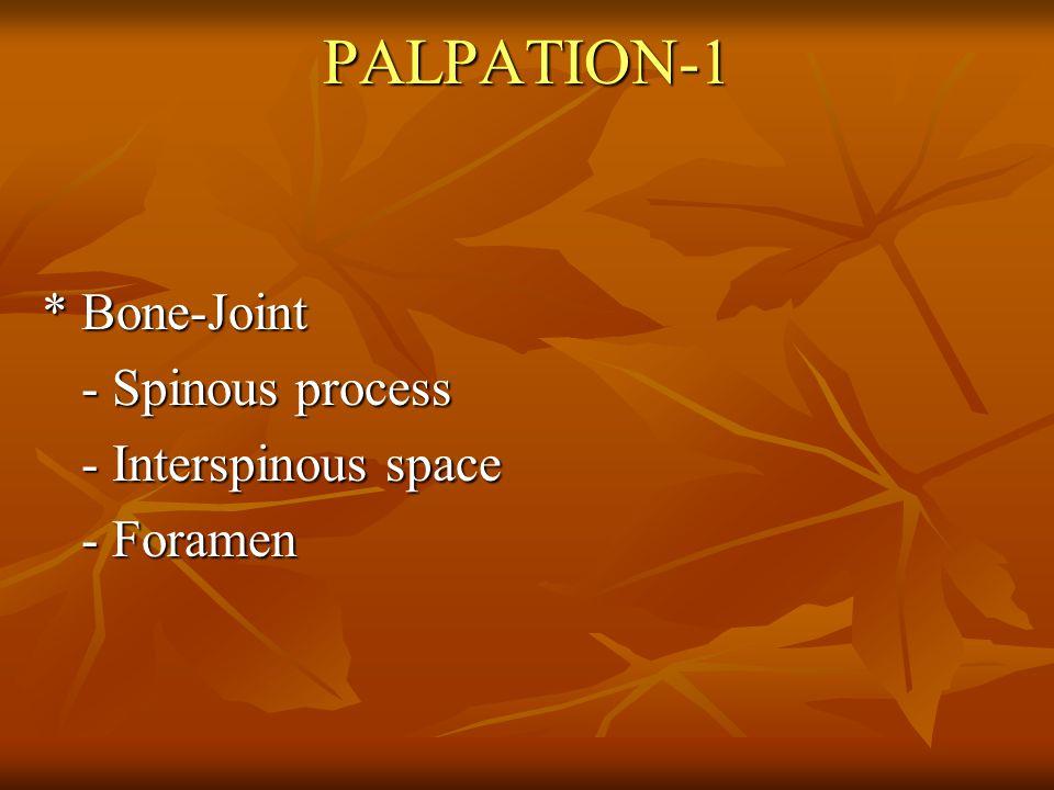 PALPATION-1 * Bone-Joint * Bone-Joint - Spinous process - Spinous process - Interspinous space - Interspinous space - Foramen - Foramen