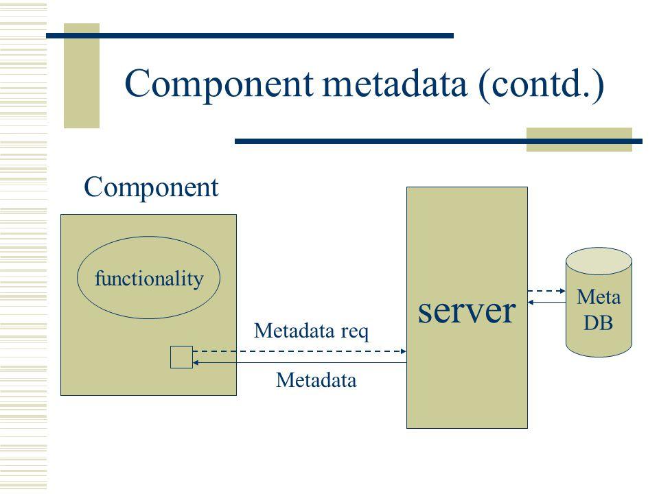 Component metadata (contd.) server Meta DB Component functionality Metadata req Metadata
