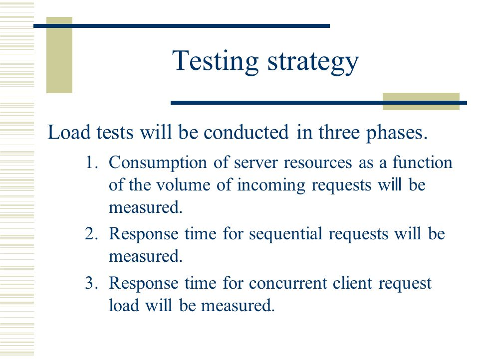 Testing strategy Load tests will be conducted in three phases.