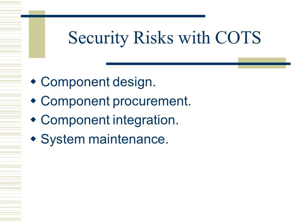 Security Risks with COTS  Component design. Component procurement.