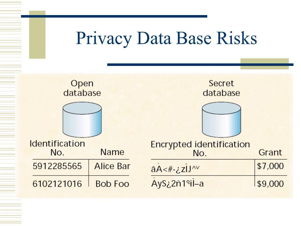 Privacy Data Base Risks