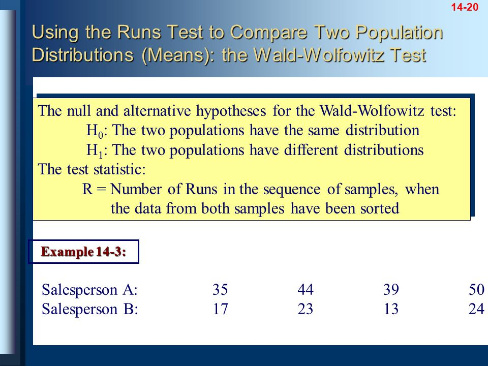 14-20 The null and alternative hypotheses for the Wald-Wolfowitz test: H 0 : The two populations have the same distribution H 1 : The two populations