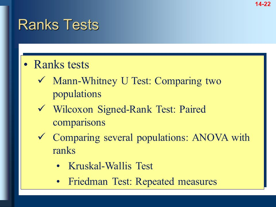 14-22 Ranks tests Mann-Whitney U Test: Comparing two populations Wilcoxon Signed-Rank Test: Paired comparisons Comparing several populations: ANOVA wi