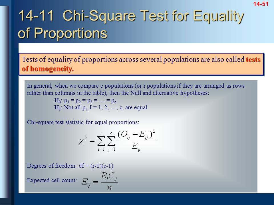 14-51 14-11 Chi-Square Test for Equality of Proportions tests of homogeneity. Tests of equality of proportions across several populations are also cal