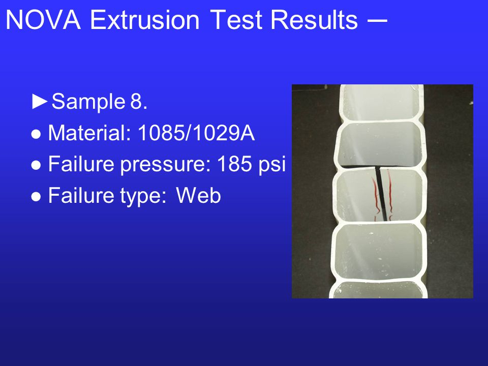 NOVA Extrusion Test Results ─ ►Sample 8.