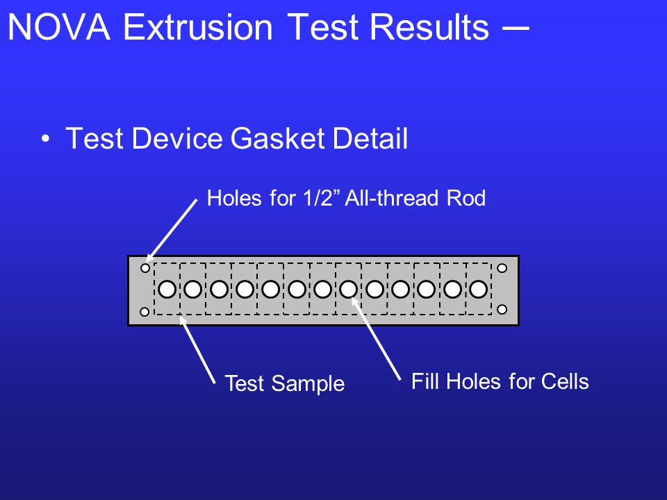 NOVA Extrusion Test Results ─ Test Device Gasket Detail Fill Holes for Cells Test Sample Holes for 1/2 All-thread Rod