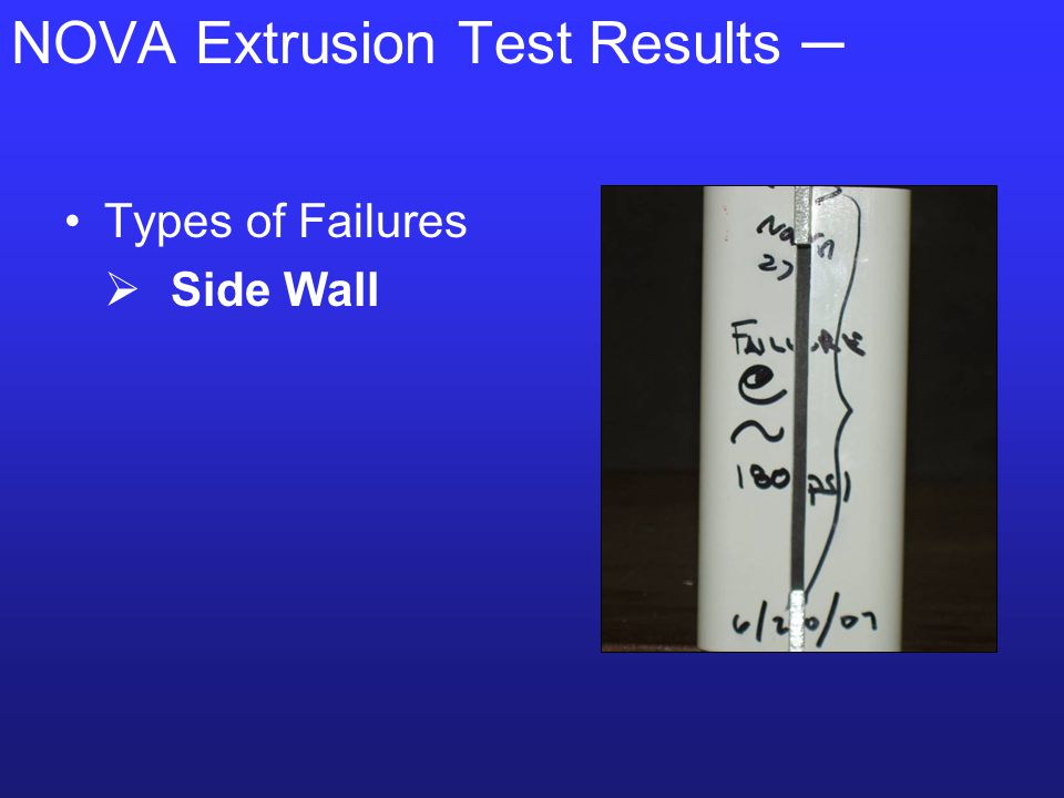 NOVA Extrusion Test Results ─ Types of Failures  Side Wall  Root