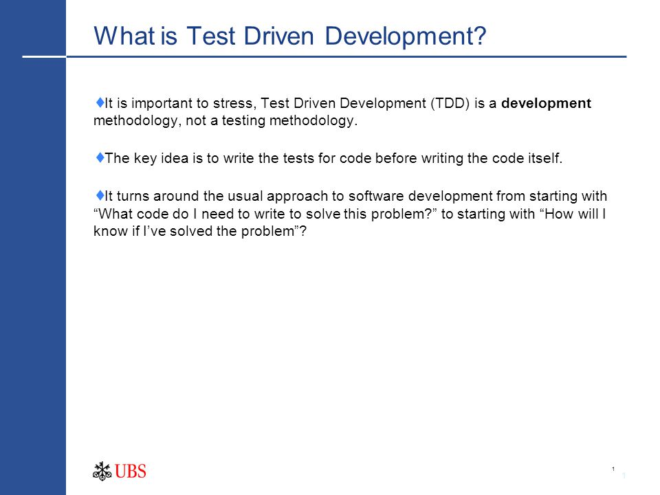 1 What is Test Driven Development.