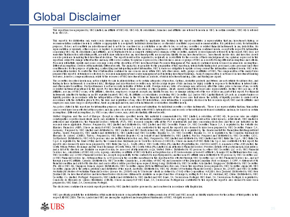 25 Global Disclaimer