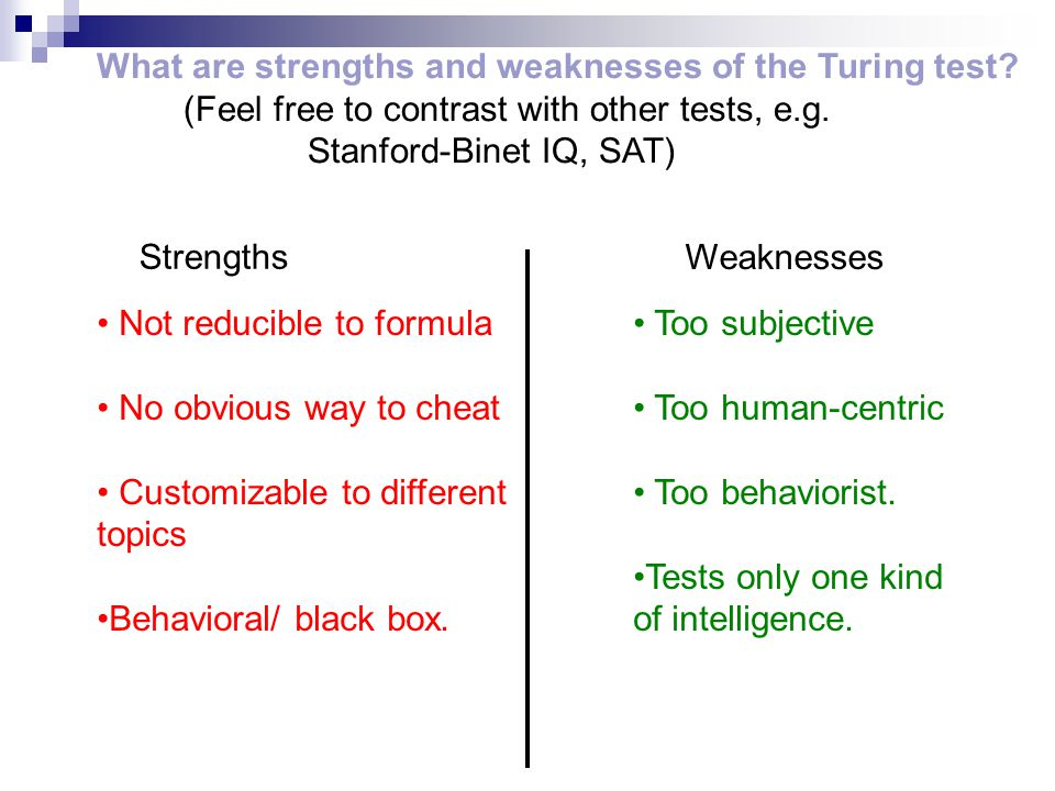 What are strengths and weaknesses of the Turing test.